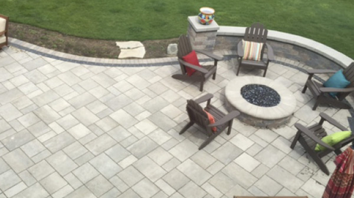 Brick Paver Patio Seat Wall Natural Gas Fire Pit